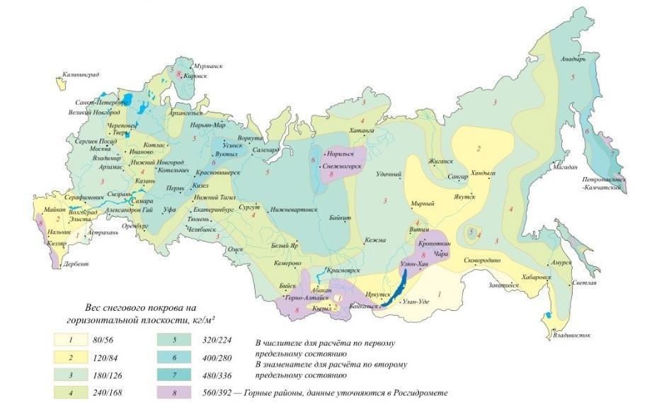 Снеговая нагрузка в разных регионах России