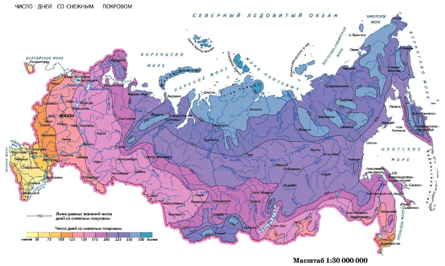 Количество дней со снежным покровом по регионам России