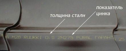 Развернутая маркировка металлочерепицы