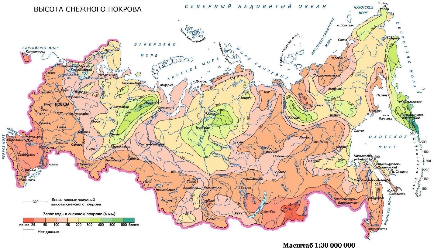 Высота снежного покрова по регионам РФ
