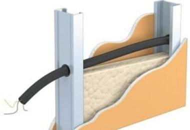 Схема прокладки проводки внутри перегородки