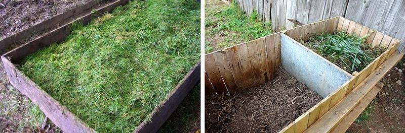 Сбор травы для дальнейшего удобрения деревьев