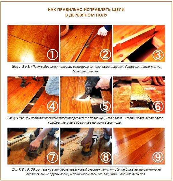 Исправление щелей в деревянном полу