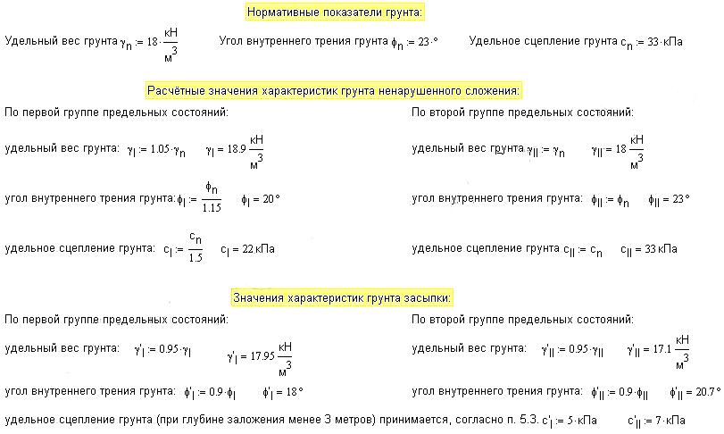 Нормативные и расчётные показатели грунта