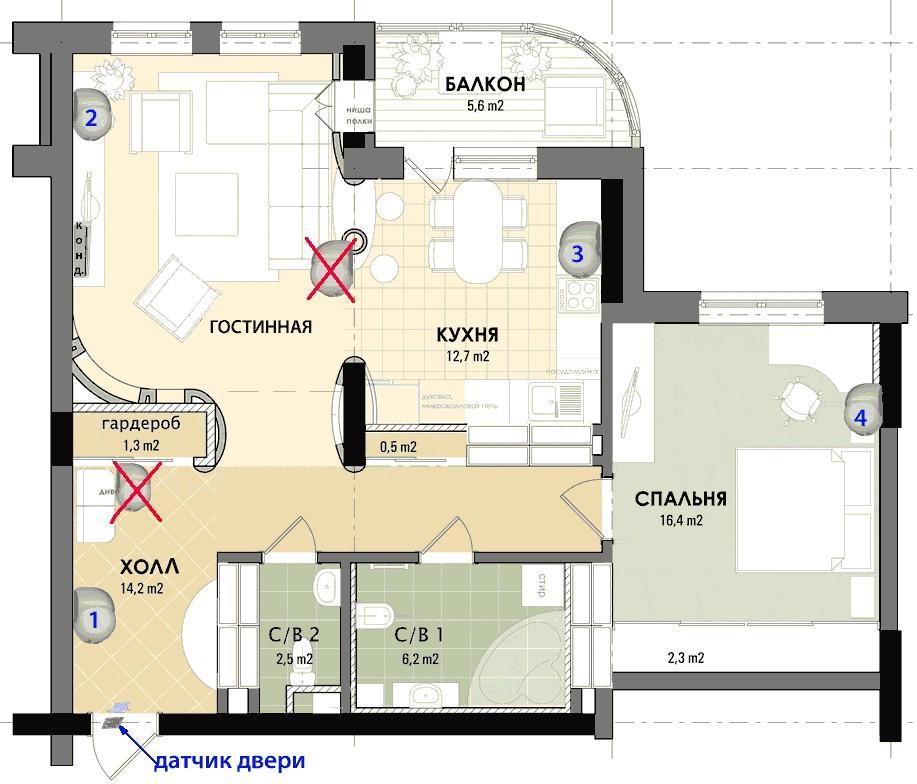 Где расположить датчики движения в квартире