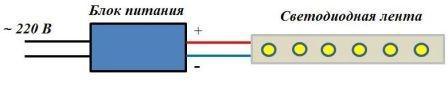 Схема подключения одной светодиодной ленты