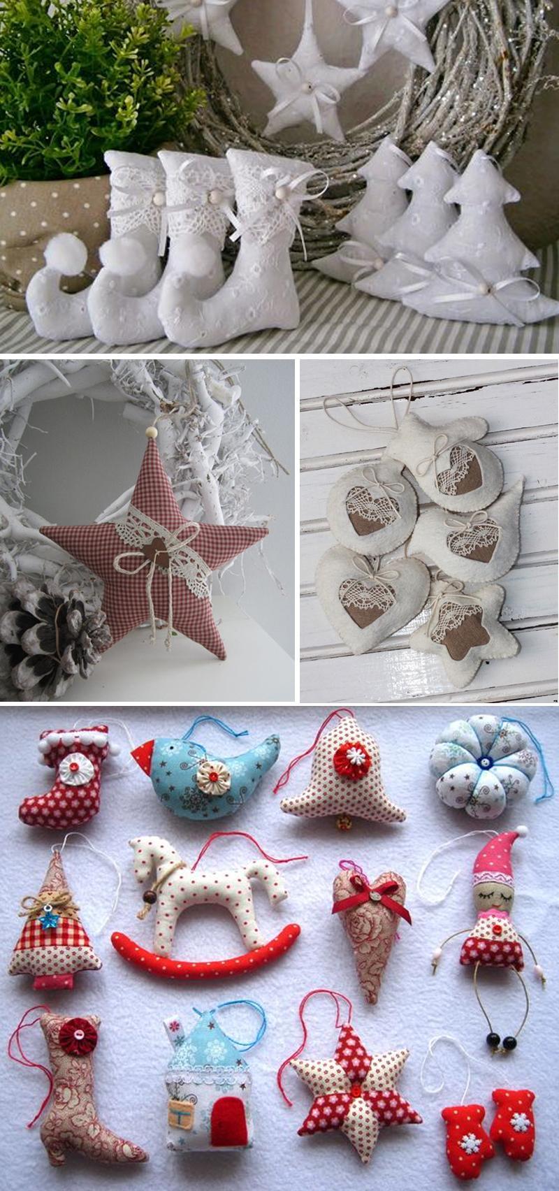 Новогодние украшения из фетра и ткани