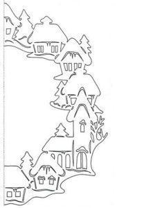Новогодний шаблон из бумаги боковой деревня