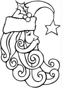 Новогодний шаблон на окна из бумаги дед мороз с бородой