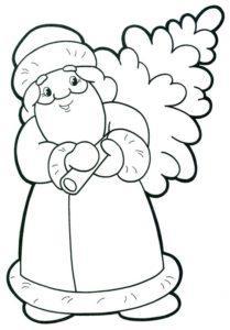 Новогодний шаблон на окна из бумаги дед мороз с елкой