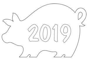 Новогодний шаблон на окна из бумаги год свиньи 2019