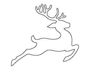 Новогодний шаблон на окна из бумаги олень в прыжке