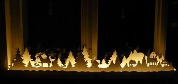 Подсветка новогоднего декора из бумаги