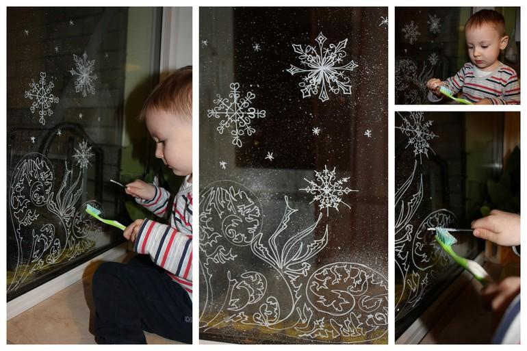 Рисование на окнах белым маркером