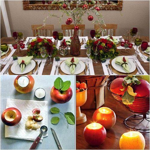 Свечи в фруктах идея новогоднего украшения стола