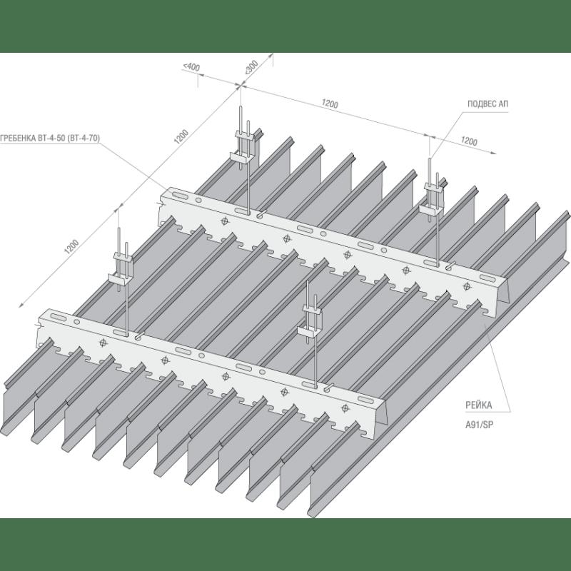 Установка реечных алюминиевых потолков с вертикальным расположением пластин