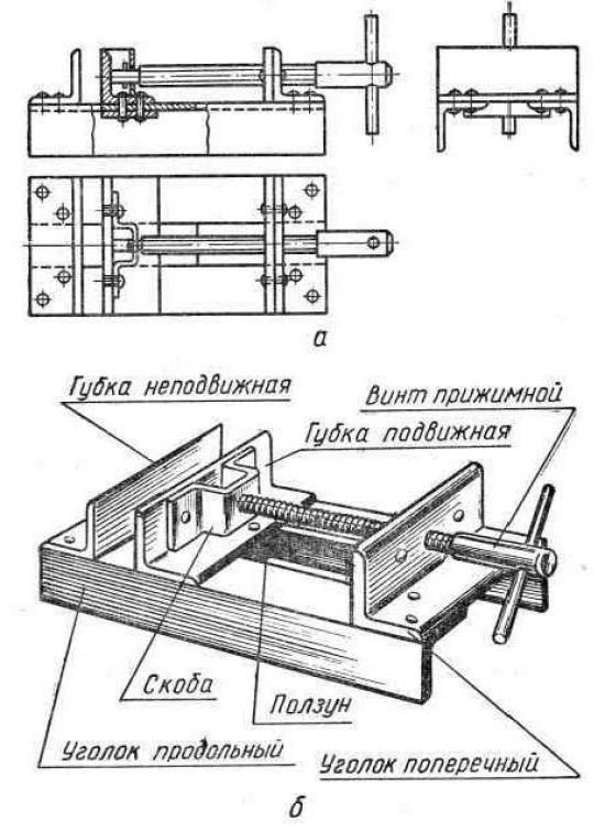 Схема слесарных тисков