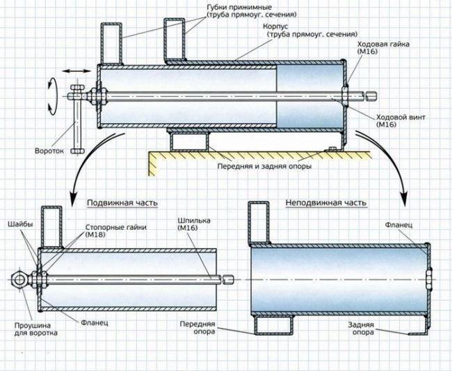 Схема станочных тисков
