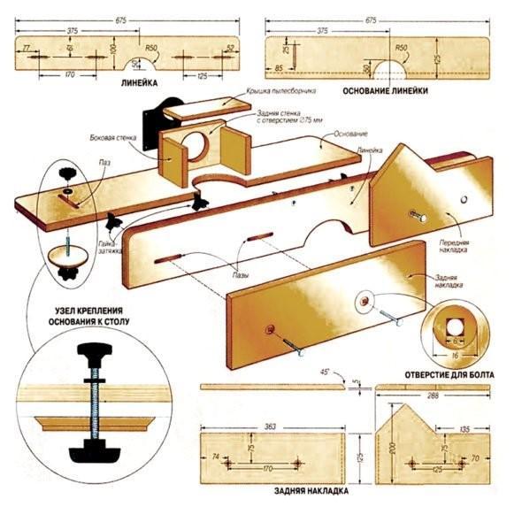 Схема упоров с патрубком для пылесоса