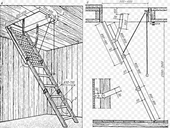 Чертежи складной лестницы на чердак