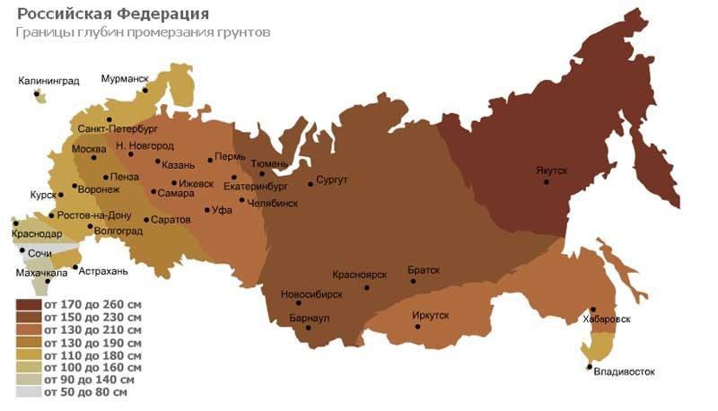 Границы глубин промерзания грунтов в России