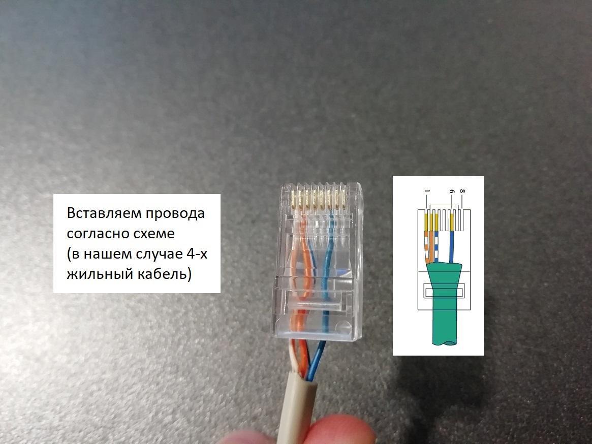 Как вставить интернет-провода в джек - последовательность