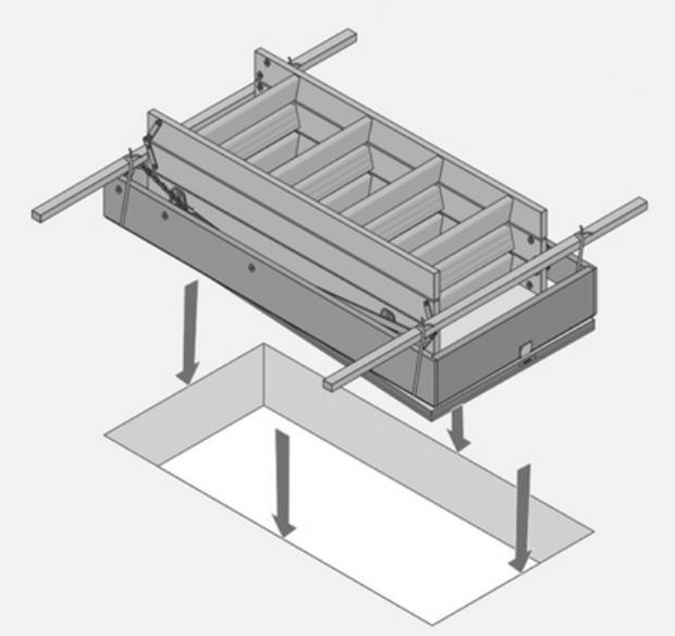 Монтаж готовой выдвижной лестницы