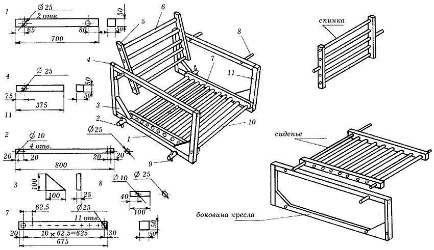 Чертеж скамейки со спинкой для садовой качели