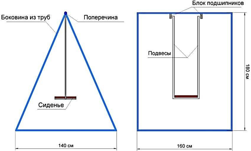 Чертеж треугольных качелей