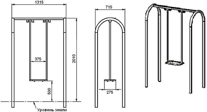 Размеры изогнутой опоры для качелей из металла