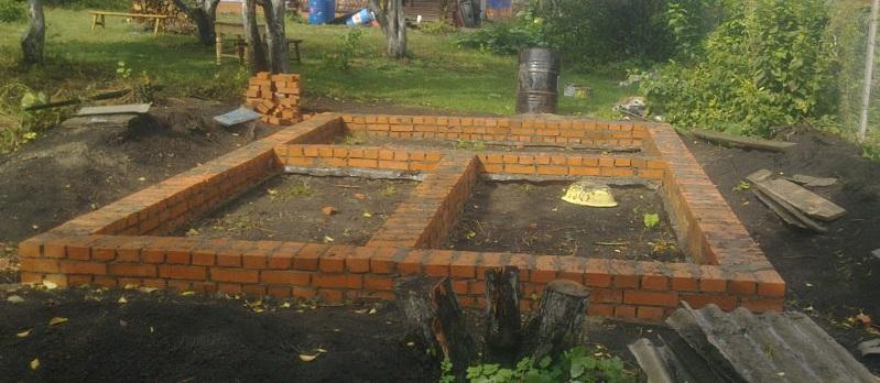 Ленточный фундамент для бани из кирпича