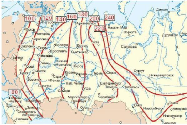Карта промерзания грунта в России