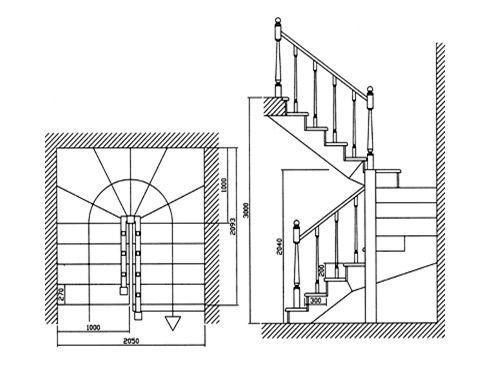 Лестница с забежными ступенями П-образной формы