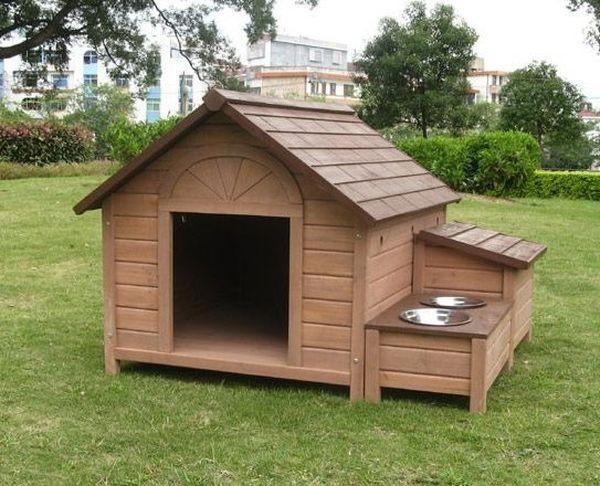 Собачья будка с подставкой для мисок