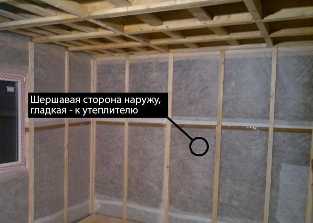 Сторона пароизоляции внутри дома