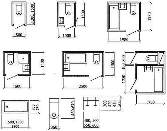 Частые планировки санузлов в многоквартирных домах старой постройки