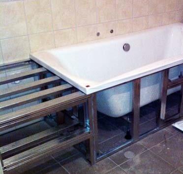 Каркас под пространство от ванны до стены