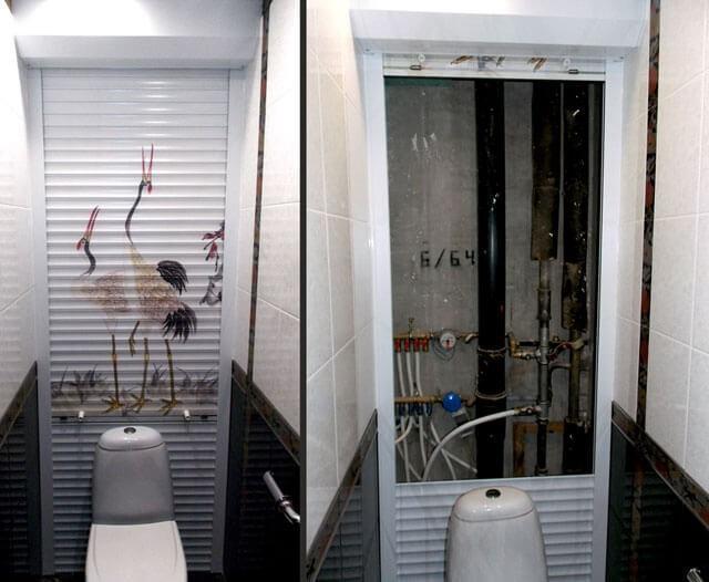 Рольставни в туалете с неподвижной частью
