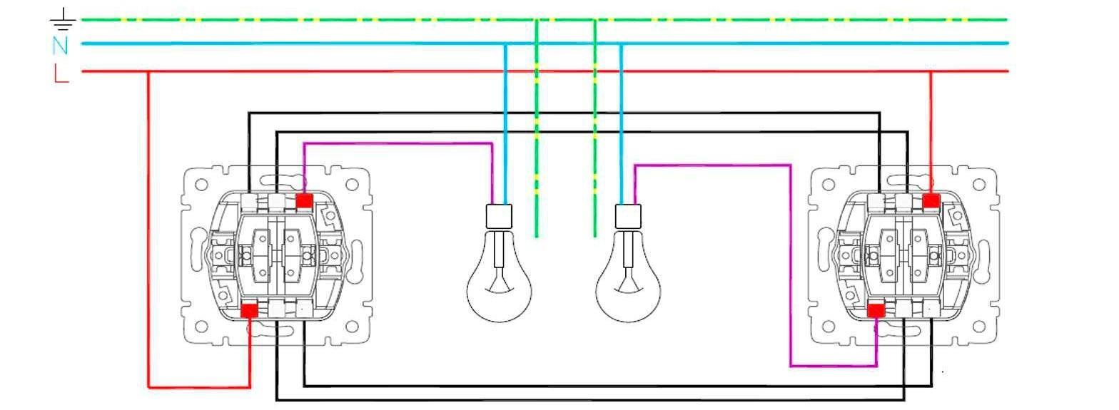 Схема присоединения проходного двухклавишного выключателя