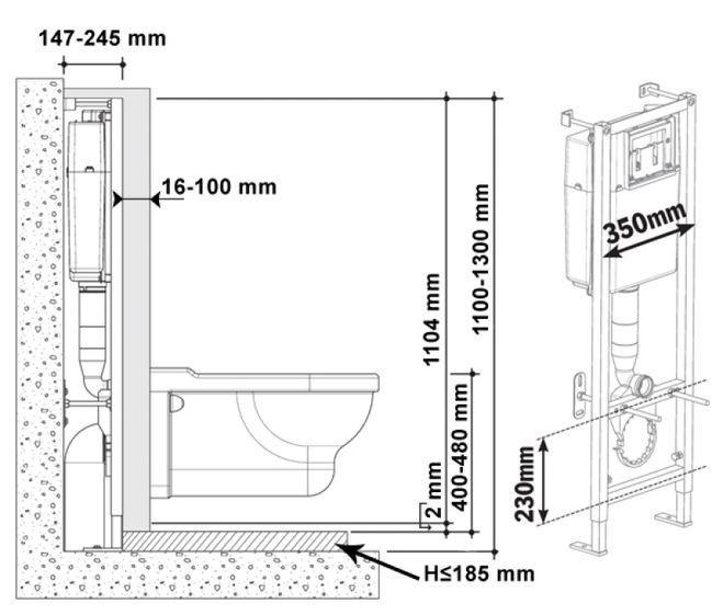 Схема размещения стенки между подвесным унитазом и инсталляцией