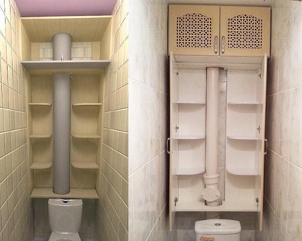 Шкаф в туалете с маскировкой трубы