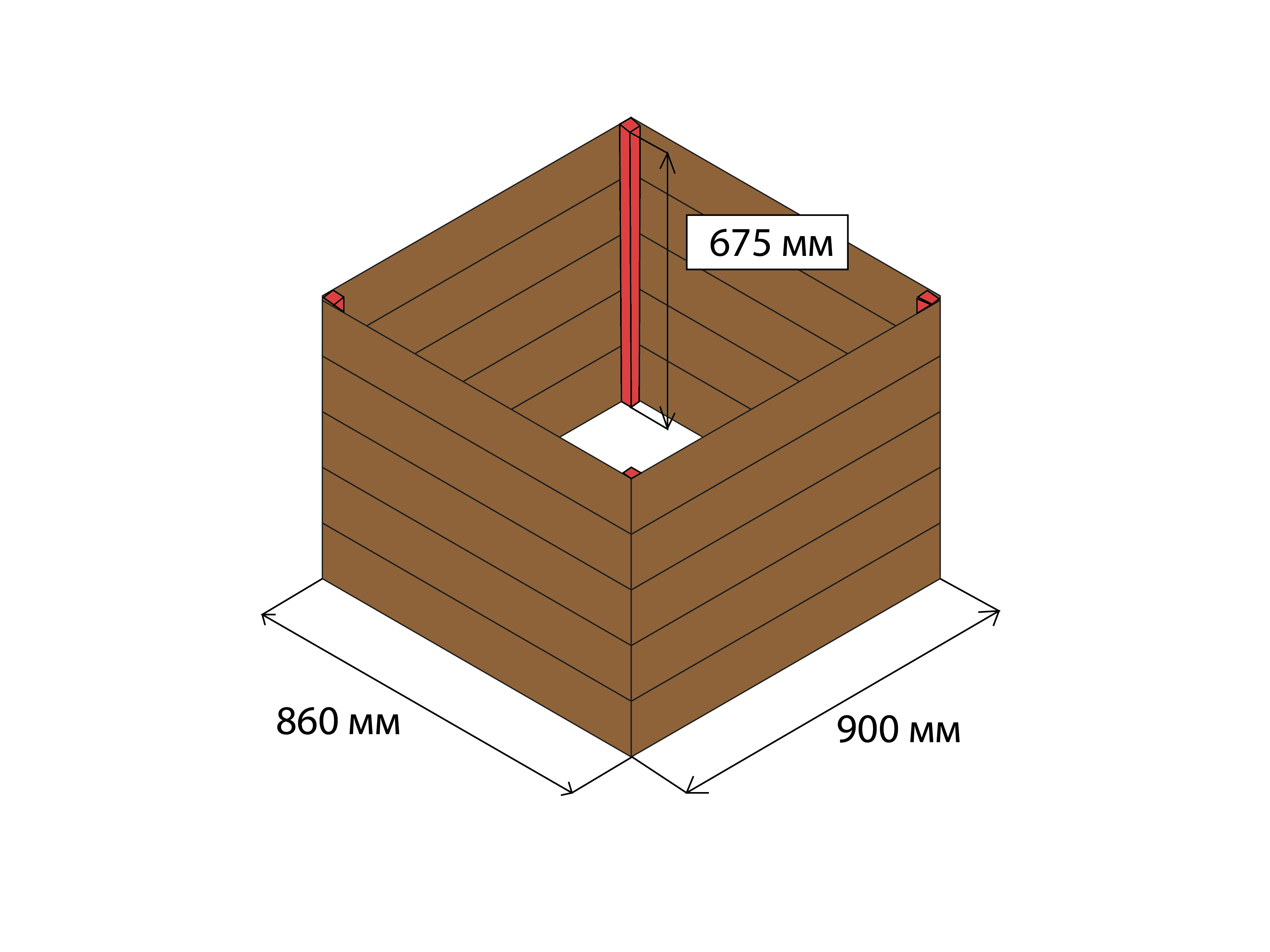 Основание домика для колодца с размерами