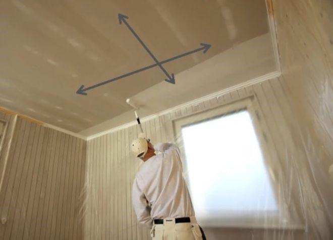 Порядок движения валиком при покраске потолка