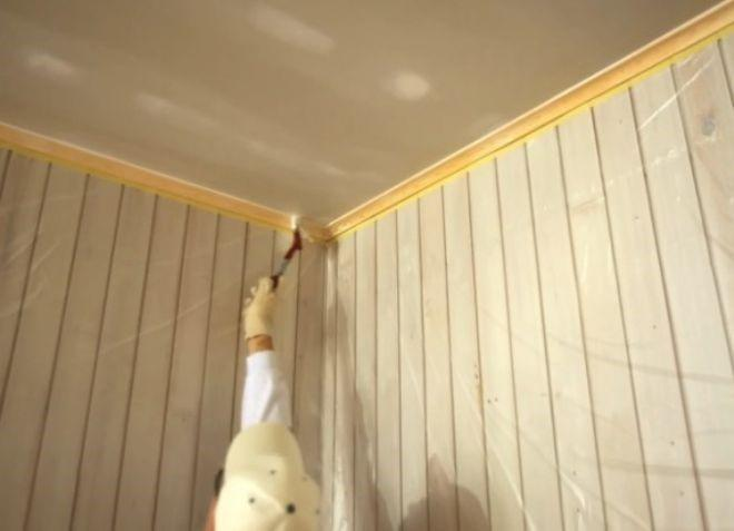 Прокраска периметра потолка