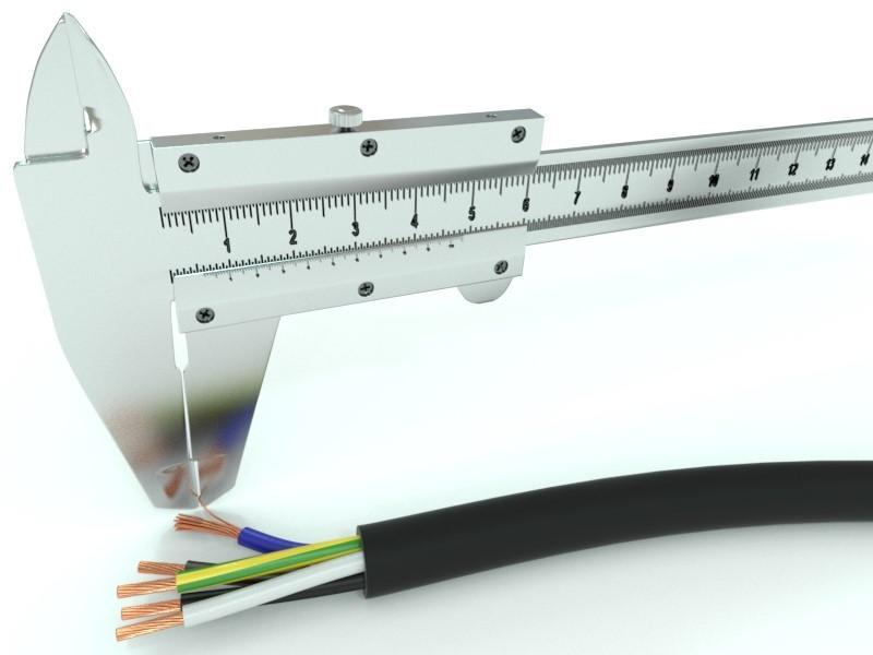 Измерение сечения с помощью штангенциркуля