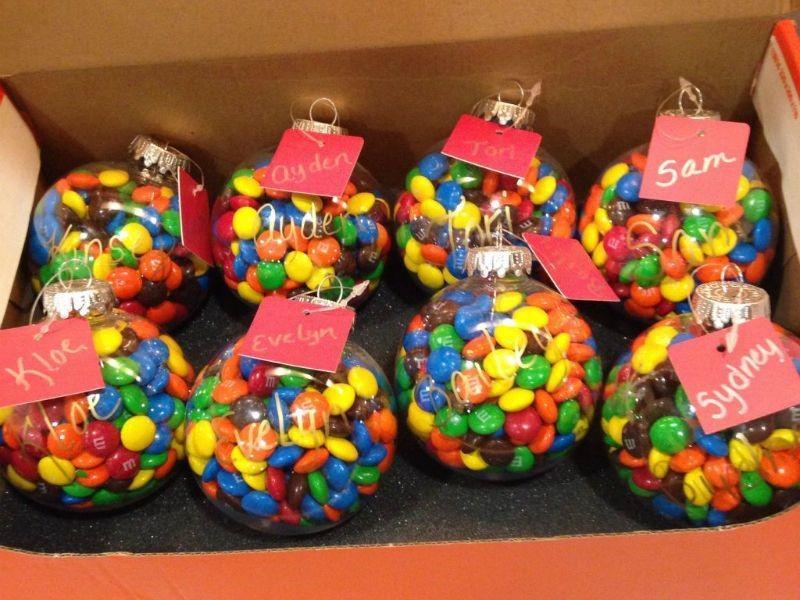 Конфеты в елочных шариках