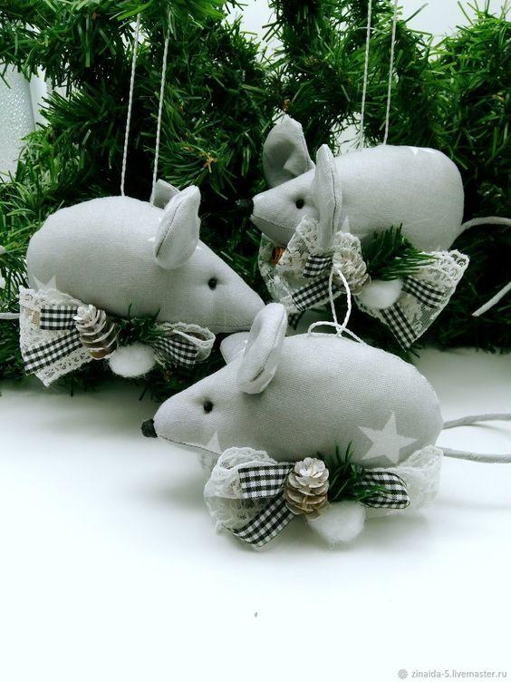 Мыши из фетра елочные игрушки