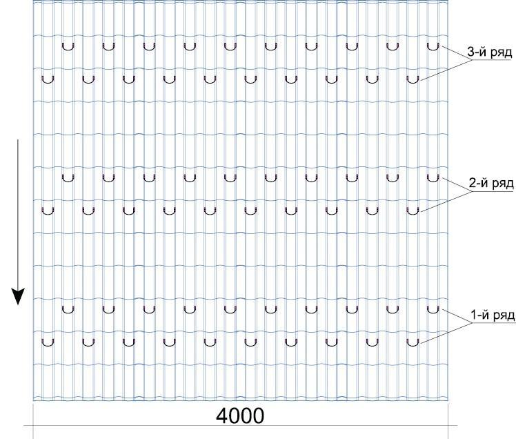 Схема для точечных снегорезов на кровле из профильного листа или металлочерепицы