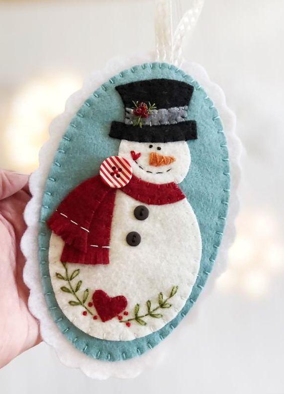 Снеговик игрушка из фетра