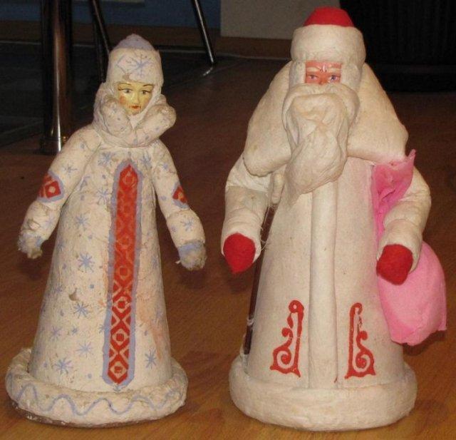 Советские дед мороз и снегурочка елочные украшения